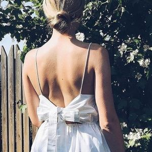White summer dress with bow back